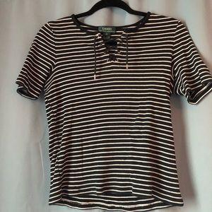 Ralph Lauren lace up striped shirt